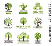 tree logotypes. eco green... | Shutterstock .eps vector #1341435572