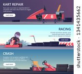 karting cars. banners with... | Shutterstock .eps vector #1341435662