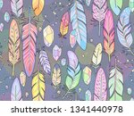multicolor feathers on dark... | Shutterstock .eps vector #1341440978