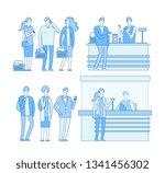 queue grocery. people standing... | Shutterstock .eps vector #1341456302