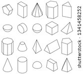 set of 3d geometric shapes.... | Shutterstock . vector #1341458252