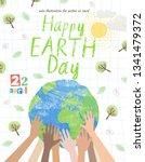 happy earth day  vector eco... | Shutterstock .eps vector #1341479372