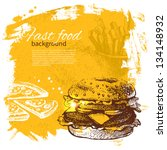 vintage fast food background.... | Shutterstock .eps vector #134148932