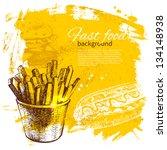 vintage fast food background.... | Shutterstock .eps vector #134148938