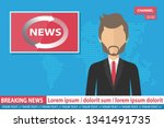 anchorman on tv broadcast news. ... | Shutterstock .eps vector #1341491735