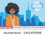 african american anchorwoman on ... | Shutterstock .eps vector #1341493988