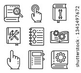 user guide icons set. outline...   Shutterstock .eps vector #1341497672