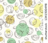 seamless pattern with longan ... | Shutterstock .eps vector #1341500498