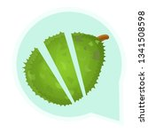 cutted whole durian logo.... | Shutterstock .eps vector #1341508598