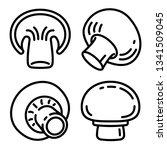 champignon icons set. outline...