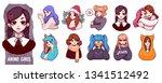 a set of cute anime girls... | Shutterstock .eps vector #1341512492