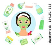 happy girl with facial mask.... | Shutterstock .eps vector #1341514835