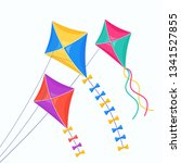 colorful kite fly in sky... | Shutterstock .eps vector #1341527855