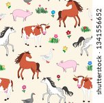 seamless repeat pattern with... | Shutterstock .eps vector #1341556652