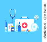 first aid kit. vector... | Shutterstock .eps vector #1341559388