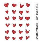 set of scribble red hearts hand ... | Shutterstock .eps vector #1341586418