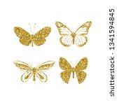 set gold glitter butterflies.... | Shutterstock .eps vector #1341594845