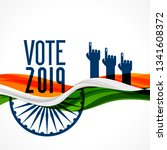 vote india background with flag ... | Shutterstock .eps vector #1341608372
