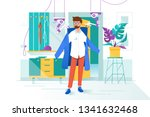 flat young man with glass and... | Shutterstock .eps vector #1341632468