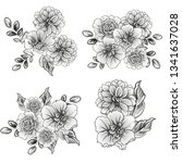 flowers set. collection of... | Shutterstock .eps vector #1341637028