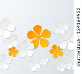 paper floral background with... | Shutterstock . vector #134164922