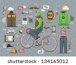 hipster guy on a bicycle vector ... | Shutterstock .eps vector #134165012