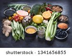 healthy organic food on dark... | Shutterstock . vector #1341656855