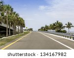 Road by the ocean in South Florida - stock photo