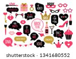 set of hen party photo booth... | Shutterstock .eps vector #1341680552