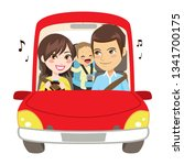 happy family on car trip... | Shutterstock .eps vector #1341700175