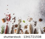 various spices in glass test... | Shutterstock . vector #1341721538
