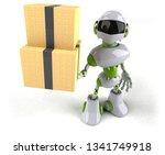 green robot   3d illustration | Shutterstock . vector #1341749918