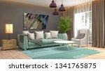 interior of the living room. 3d ...   Shutterstock . vector #1341765875