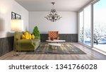 interior of the living room. 3d ... | Shutterstock . vector #1341766028