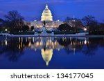 Stock photo capitol building at dusk with reflection pool and blue sky washington dc united states 134177045