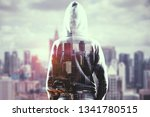 hacker on blurry city... | Shutterstock . vector #1341780515