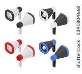 isometric creative megaphone.... | Shutterstock .eps vector #1341804668