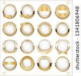 golden empty white labels retro ... | Shutterstock .eps vector #1341806948