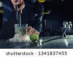 barman making mojito cocktail... | Shutterstock . vector #1341837455
