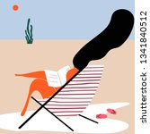 woman tanning at the beach... | Shutterstock .eps vector #1341840512