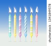 set of birthday candles with... | Shutterstock .eps vector #1341849578