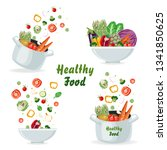 set of concepts with vegetables ... | Shutterstock .eps vector #1341850625