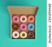 Donut Box Isolated On Mint...