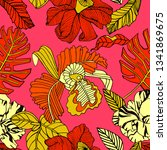 tropical pattern  bright fruits ... | Shutterstock .eps vector #1341869675