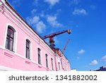 pink residential house close up ... | Shutterstock . vector #1341882002
