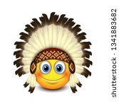 cute native american emoji ... | Shutterstock .eps vector #1341883682
