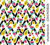 fruit characters seamless... | Shutterstock .eps vector #1341905828