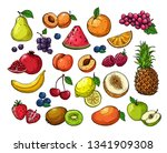 cartoon berries and fruits.... | Shutterstock .eps vector #1341909308