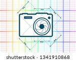 photo camera icon. blue outline ...