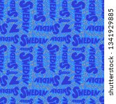 pattern with sweden lettering.... | Shutterstock .eps vector #1341929885